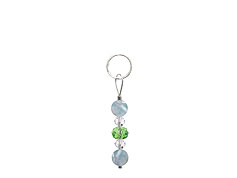 BELLASIX ® zipper pendant AR9 or handbag charm w. SWAROVSKI ® crystals in green and crystal with aquamarine, total length approx. 4.5 cm