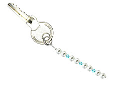 BELLASIX ® keyring pendant AS19, total length approx. 8-9 cm w. SWAROVSKI ® crystals and shell pearls