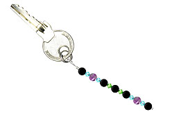 BELLASIX ® keyring pendant AS2, total length approx. 8-9 cm w. SWAROVSKI ® crystals and amethyst, onyx