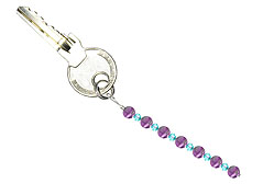 BELLASIX ® keyring pendant AS20, total length approx. 8-9 cm w. SWAROVSKI ® crystals and amethyst