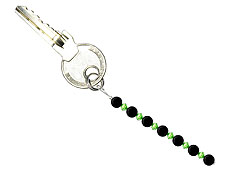 BELLASIX ® keyring pendant AS24, total length approx. 8-9 cm w. SWAROVSKI ® crystals and onyx