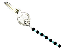 BELLASIX ® keyring pendant AS26, total length approx. 8-9 cm w. SWAROVSKI ® crystals and onyx