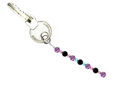BELLASIX ® keyring pendant AS3, total length approx. 8-9 cm w. SWAROVSKI ® crystals and amethyst, onyx