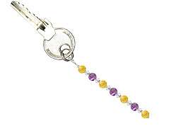 BELLASIX ® keyring pendant AS40, total length approx. 8-9 cm w. SWAROVSKI ® crystals and citrine, amethyst