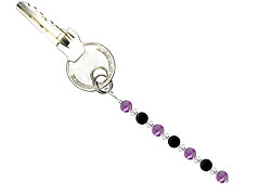 BELLASIX ® keyring pendant AS41, total length approx. 8-9 cm w. SWAROVSKI ® crystals and onyx, amethyst