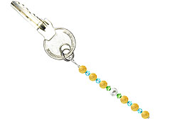 BELLASIX ® keyring pendant AS45, total length approx. 8-9 cm w. SWAROVSKI ® crystals and shell pearls, citrine
