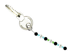BELLASIX ® keyring pendant AS47, total length approx. 8-9 cm w. SWAROVSKI ® crystals and shell pearls, onyx