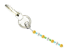 BELLASIX ® keyring pendant AS48, total length approx. 8-9 cm w. SWAROVSKI ® crystals and shell pearls, citrine