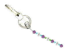 BELLASIX ® keyring pendant AS49, total length approx. 8-9 cm w. SWAROVSKI ® crystals and shell pearls, amethyst