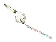 BELLASIX ® keyring pendant AS50, total length approx. 8-9 cm w. SWAROVSKI ® crystals and shell pearls, rose quartz