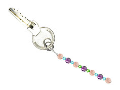 BELLASIX ® keyring pendant AS51, total length approx. 8-9 cm w. SWAROVSKI ® crystals and rose quartz, amethyst