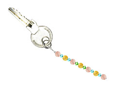 BELLASIX ® keyring pendant AS52, total length approx. 8-9 cm w. SWAROVSKI ® crystals and rose quartz, citrine