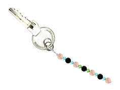 BELLASIX ® keyring pendant AS53, total length approx. 8-9 cm w. SWAROVSKI ® crystals and rose quartz, onyx
