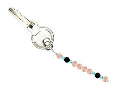 BELLASIX ® keyring pendant AS54, total length approx. 8-9 cm w. SWAROVSKI ® crystals and rose quartz, onyx