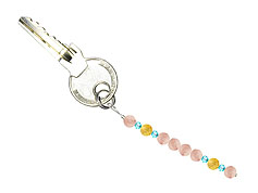 BELLASIX ® keyring pendant AS55, total length approx. 8-9 cm w. SWAROVSKI ® crystals and rose quartz, citrine