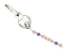 BELLASIX ® keyring pendant AS56, total length approx. 8-9 cm w. SWAROVSKI ® crystals and rose quartz, amethyst