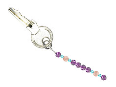 BELLASIX ® keyring pendant AS57, total length approx. 8-9 cm w. SWAROVSKI ® crystals and rose quaz, amethyst