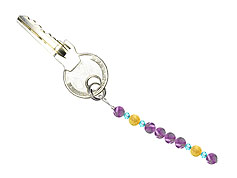 BELLASIX ® keyring pendant AS58, total length approx. 8-9 cm w. SWAROVSKI ® crystals and amethyst, citrine