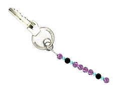 BELLASIX ® keyring pendant AS59, total length approx. 8-9 cm w. SWAROVSKI ® crystals and onyx, amethyst