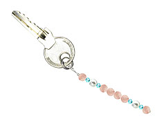 BELLASIX ® keyring pendant AS61, total length approx. 8-9 cm w. SWAROVSKI ® crystals and shell pearls, rose quartz