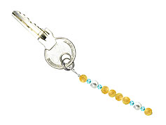 BELLASIX ® keyring pendant AS62, total length approx. 8-9 cm w. SWAROVSKI ® crystals and shell pearls, citrine
