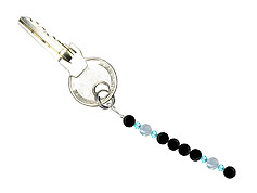 BELLASIX ® keyring pendant AS64, total length approx. 8-9 cm w. SWAROVSKI ® crystals and aquamarine, onyx