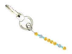 BELLASIX ® keyring pendant AS65, total length approx. 8-9 cm w. SWAROVSKI ® crystals and aquamarine, citrine