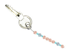 BELLASIX ® keyring pendant AS66, total length approx. 8-9 cm w. SWAROVSKI ® crystals and aquamarine, rose quartz