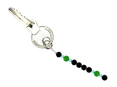 BELLASIX ® keyring pendant AS68, total length approx. 8-9 cm w. SWAROVSKI ® crystals and jade, onyx