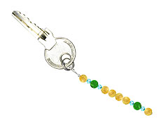 BELLASIX ® keyring pendant AS69, total length approx. 8-9 cm w. SWAROVSKI ® crystals and jade, citrine
