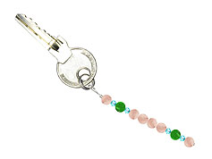 BELLASIX ® keyring pendant AS70, total length approx. 8-9 cm w. SWAROVSKI ® crystals and jade, rose quartz