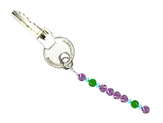 BELLASIX ® keyring pendant AS71, total length approx. 8-9 cm w. SWAROVSKI ® crystals and jade, amethyst