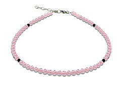 BELLASIX ® GEM Pure Line 12, rose quartz, necklace, 925 silver clasp