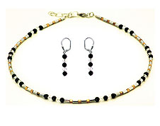 SWAROVSKI (R) crystals in combination with: BELLASIX (R) bicolor jewellery set_1710_k_1769_o 925 silver clasp onyx hematine