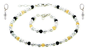 SWAROVSKI (R) crystals in combination with: BELLASIX (R) jewellery set_1711_k_a_o 925 silver clasp black onyx, citrine (yellow quartz) MADE IN GERMANY