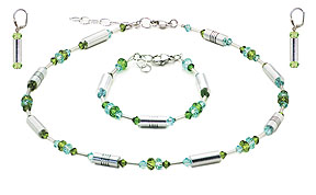 SWAROVSKI (R) crystals in combination with: BELLASIX (R) jewellery set_1712_k_1712_a_1717_o1 925 silver clasp green blue
