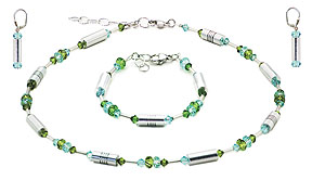 SWAROVSKI (R) crystals in combination with: BELLASIX (R) jewellery set_1712_k_1712_a_1717_o2 925 silver clasp green blue
