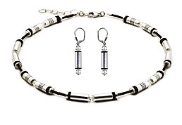 SWAROVSKI (R) crystals in combination with: BELLASIX (R) jewellery set_1715_k_1819_o 925 silver clasp bicolor black silber-farben
