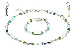 SWAROVSKI (R) crystals in combination with: BELLASIX (R) jewellery set_1717_k_1717_a_1717_o1 925 silver clasp green blue