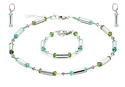 SWAROVSKI (R) crystals in combination with: BELLASIX (R) jewellery set_1717_k_1717_a_1717_o2 925 silver clasp green blue
