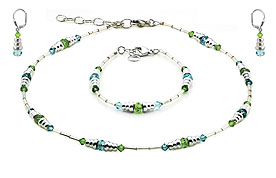 SWAROVSKI (R) crystals in combination with: BELLASIX (R) jewellery set_1718_k_1718_a_1718_o1 925 silver clasp green blue