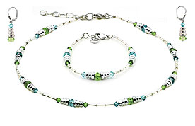 SWAROVSKI (R) crystals in combination with: BELLASIX (R) jewellery set_1718_k_1718_a_1718_o2 925 silver clasp green blue