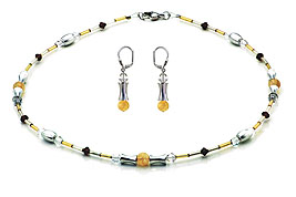 SWAROVSKI (R) crystals in combination with: BELLASIX (R) jewellery set_1724_k_1814_o 925 silver clasp citrine (yellow quartz) bicolor Gold-/Silberfarben