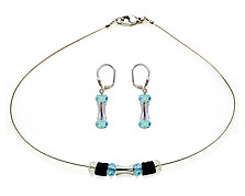 SWAROVSKI (R) crystals in combination with: BELLASIX (R) jewellery set_1732_k_1764_o 925 silver clasp blue