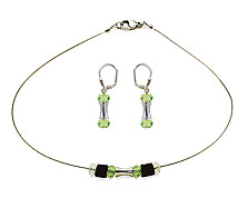 SWAROVSKI (R) crystals in combination with: BELLASIX (R) jewellery set_1734_k_1797_o 925 silver clasp green
