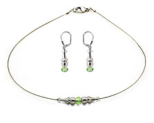 SWAROVSKI (R) crystals in combination with: BELLASIX (R) jewellery set_1737_k_1719_o2 925 silver clasp green wedding jewellery