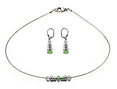 SWAROVSKI (R) crystals in combination with: BELLASIX (R) jewellery set_1744_k_1853_o 925 silver clasp green wedding jewellery