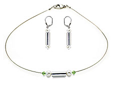 SWAROVSKI (R) crystals in combination with: BELLASIX (R) jewellery set_1755_k_1752_o 925 silver clasp green wedding jewellery