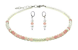 SWAROVSKI (R) crystals in combination with: BELLASIX (R) jewellery set_1757_k_1809_o1 925 silver clasp rose quartz