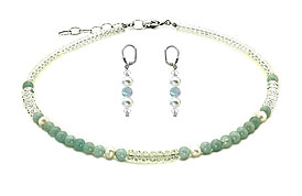 SWAROVSKI (R) crystals in combination with: BELLASIX (R) jewellery set_1758_k_1809_o2 925 silver clasp aquamarine